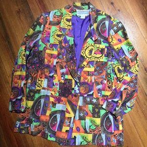 Pat Argenti 100% Silk Funky Vintage Jacket